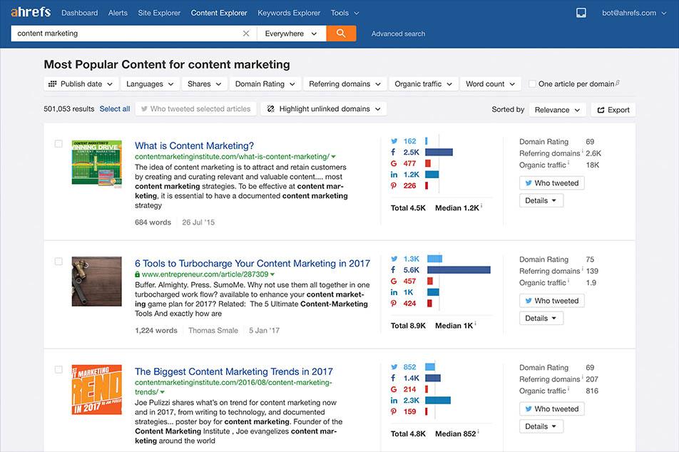 ابزار Ahrefs سایت Content Research