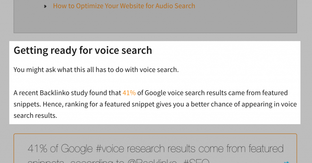نتیجه جستجوی صوتی و تعداد بک لینک ها
