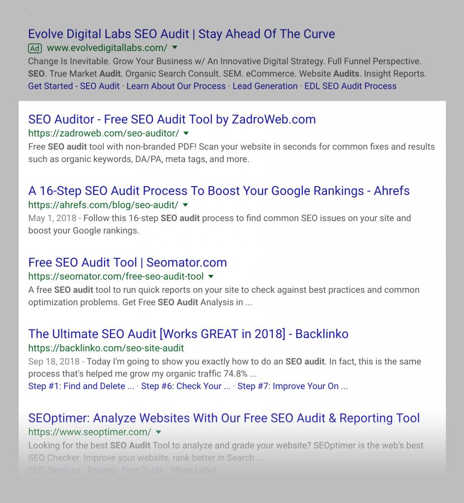 نتایج جستجوی ارگانیک کلمه کلیدی SEO Audit