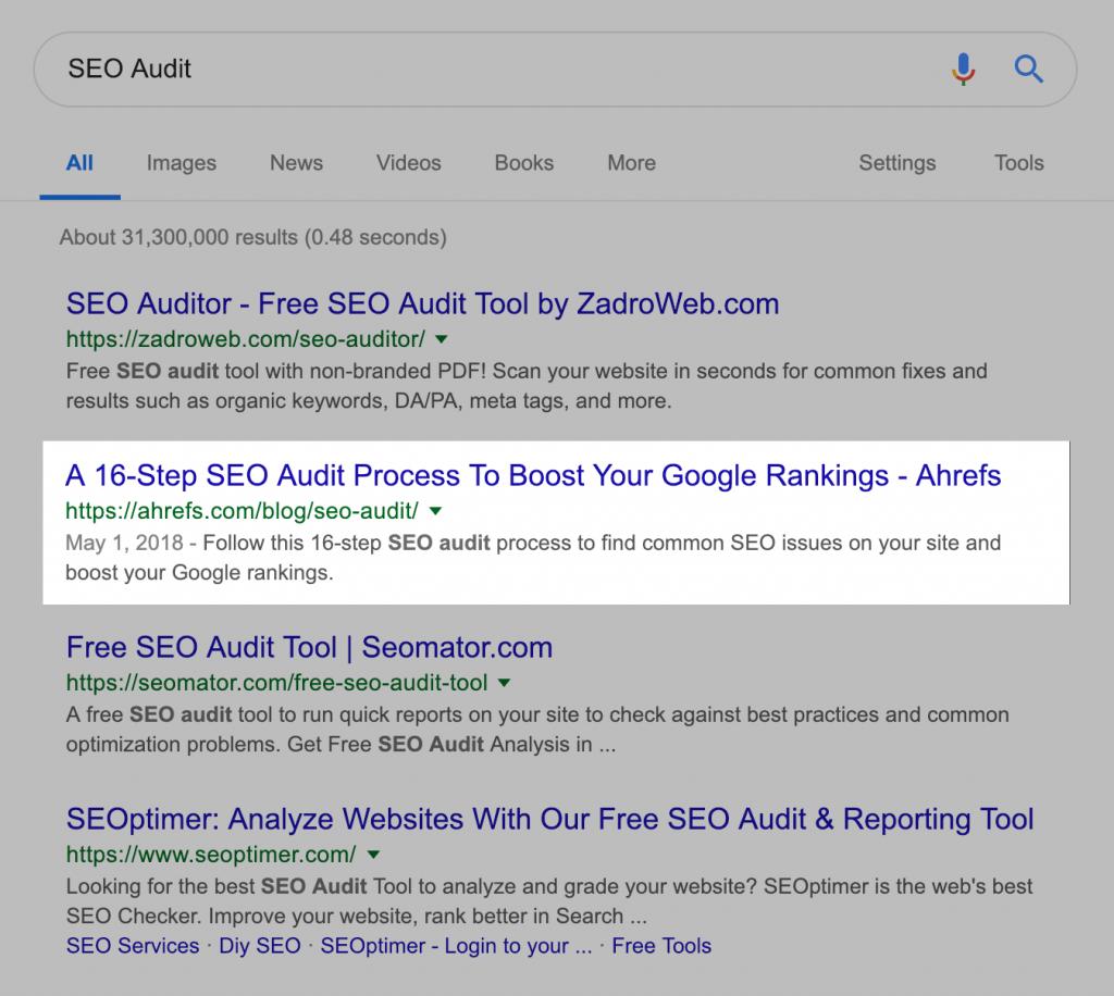 نتیجه جستجوی گوگل برای کلمه کلیدی ارزیابی سئو