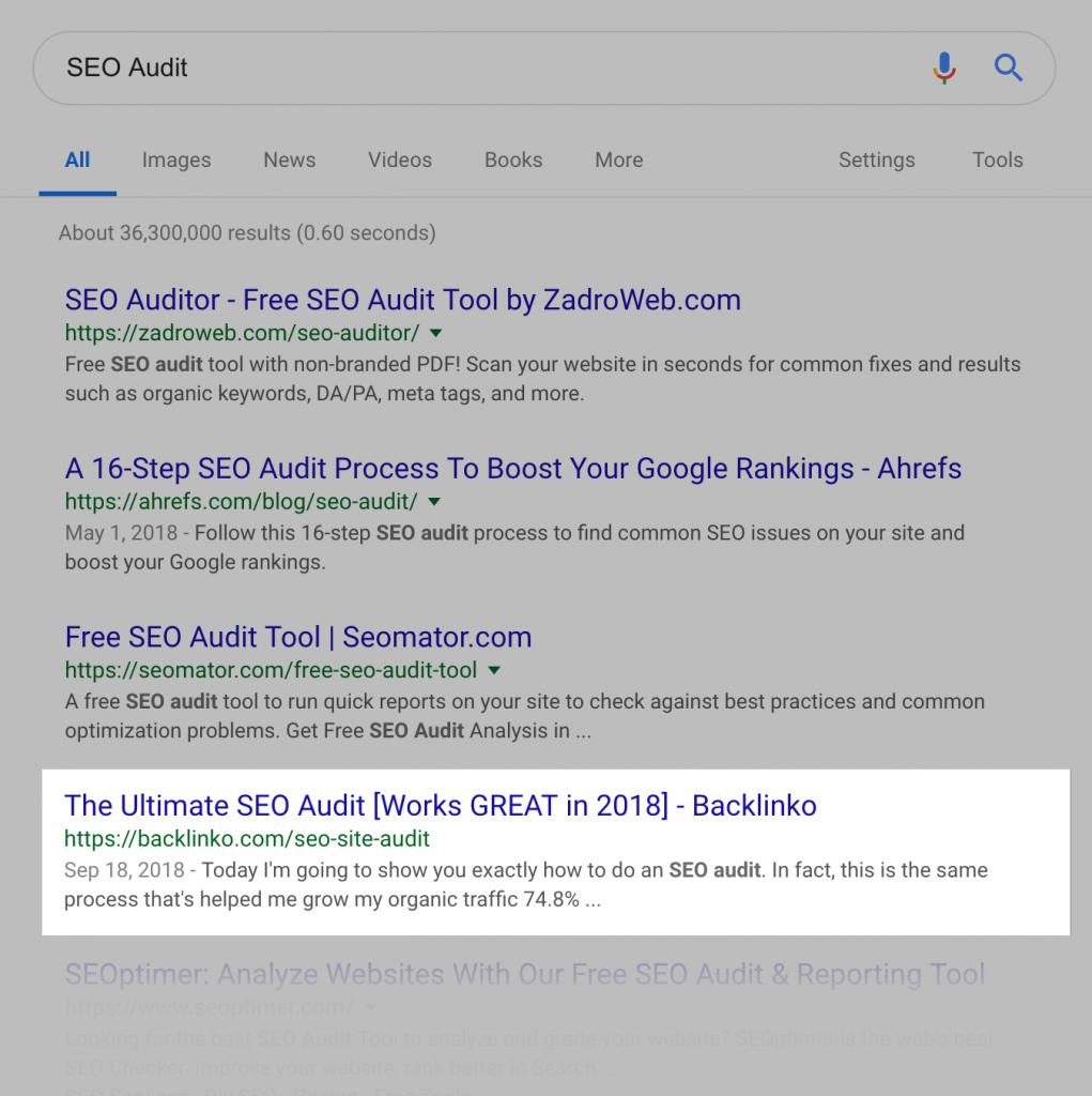 نتیجه گوگل ارزیابی سئو