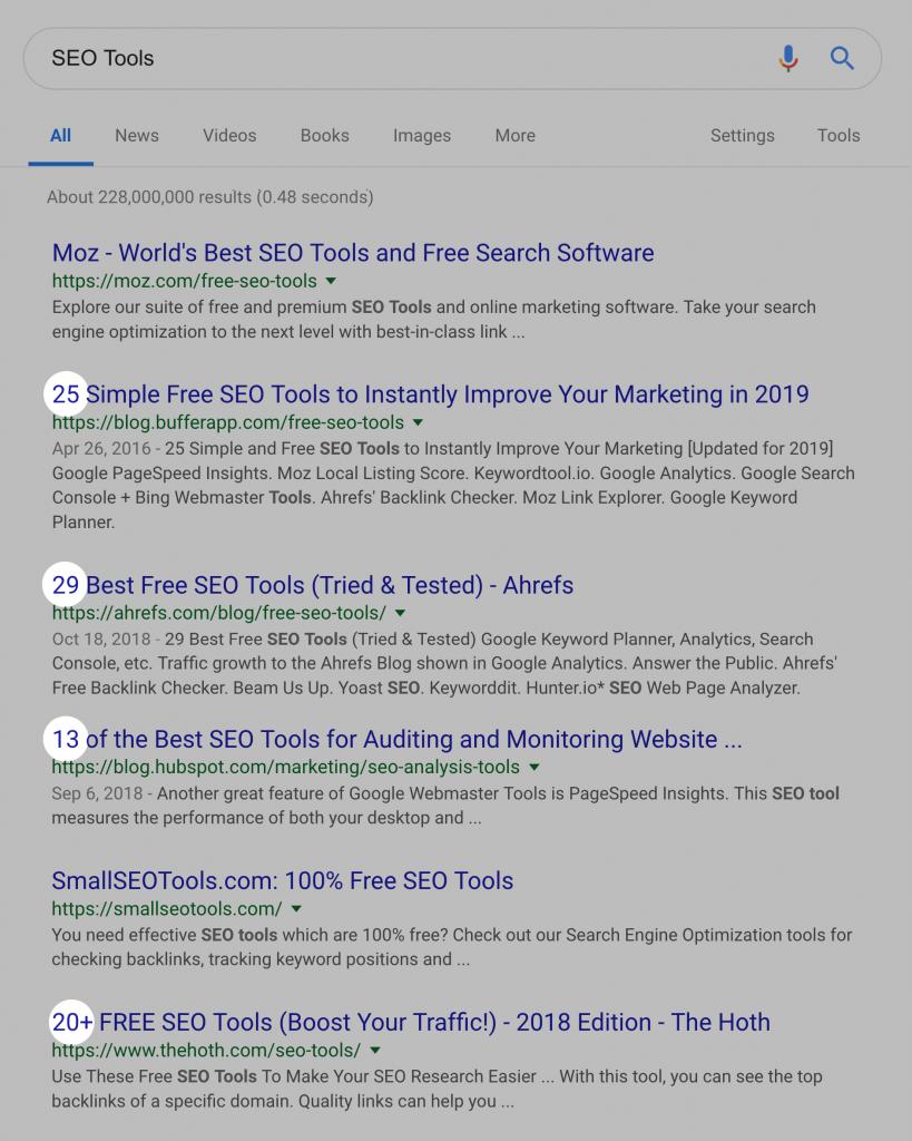 بررسی نتایج صفحه اول گوگل برای کلمه کلیدی SEO Tools