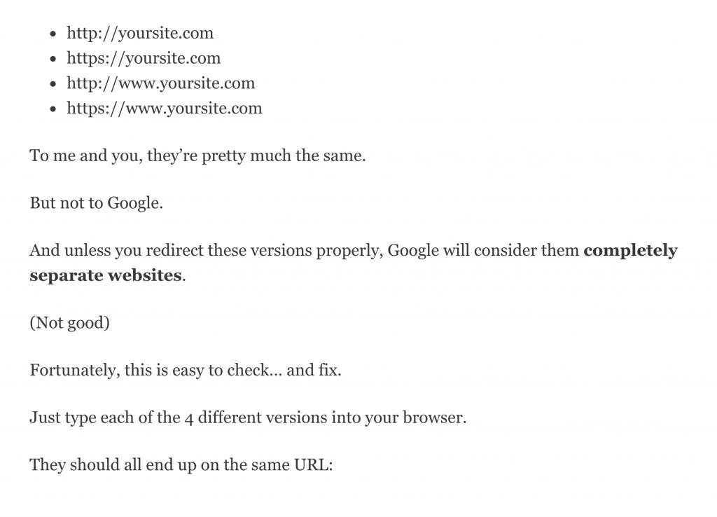 ریدایرکت کردن هر چهار نسخه نشانی سایت به یک نشانی