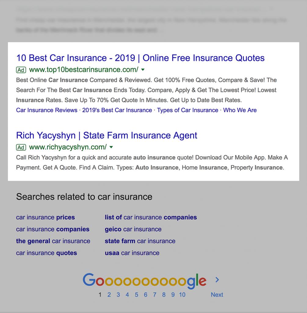 تبلیغات گوگل در پایین نتایج جستجو