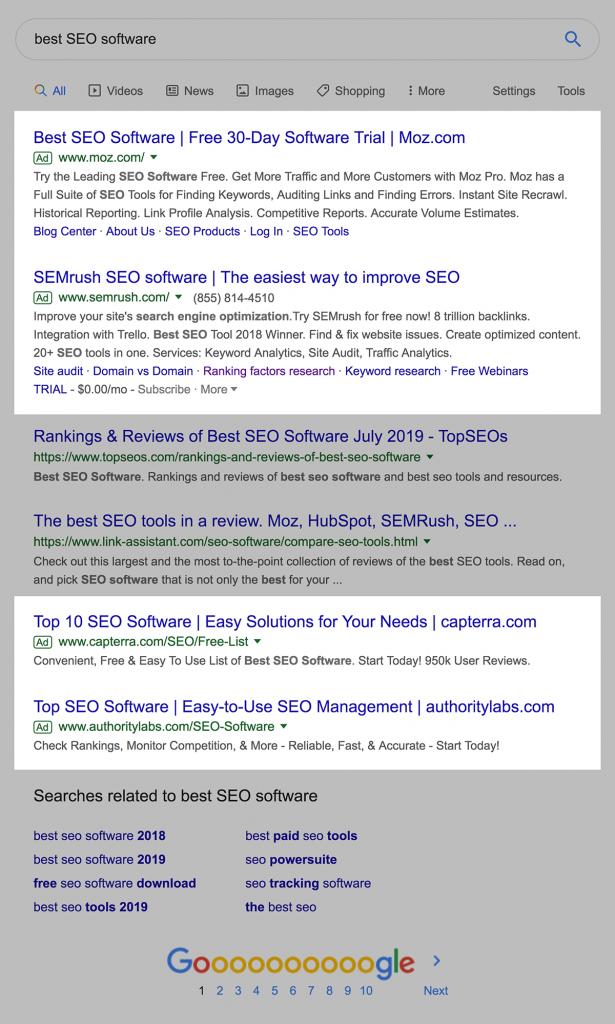نمایش تبلیغات گوگل در بالا و انتهای نتایج جستجو