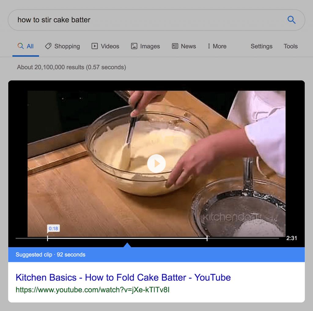 پاسخ برجسته ویدیو گوگل