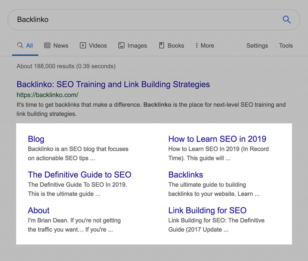 نمایش sitelink در نتایج جستجوی گوگل