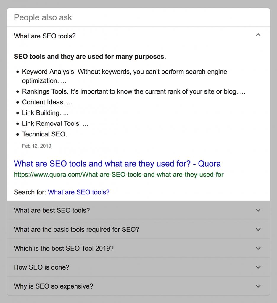 باکس پرسش های مشابه کاربران در نتایج گوگل