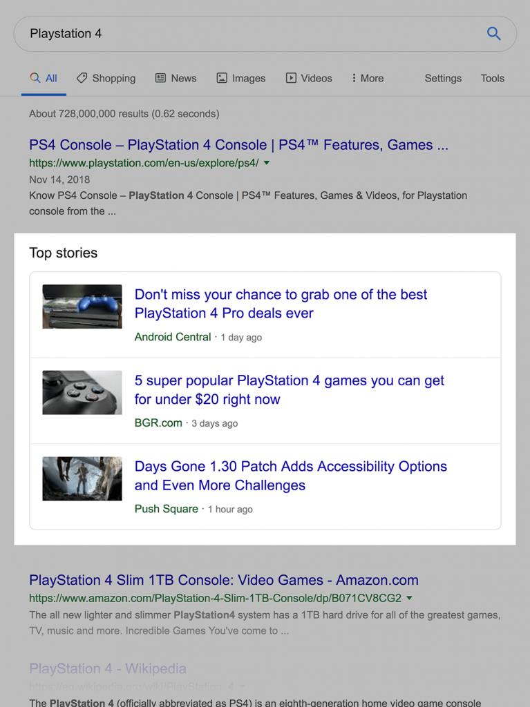 Top Stories گوگل